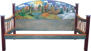 Daybed –  A beautiful mountainous four seasons landscape fills this daybed headboard