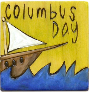 "Large Perpetual Calendar Magnet –  A ship sails the ocean blue on this ""Columbus Day"" magnet"