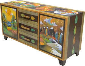 Large Buffet –  Four Seasons credenza buffet with four seasons in the hills motif