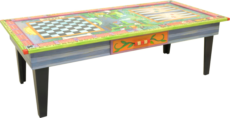Urban Game Table –  Bright and whimsical dogs and cats game table with three games