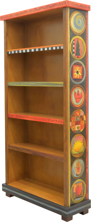 Tall Bookcase –  Fun and whimsical encircled icons and abstract line-work
