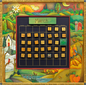 Large Perpetual Calendar –  Beautiful continuous four seasons landscape calendar motif with funky oversize accents