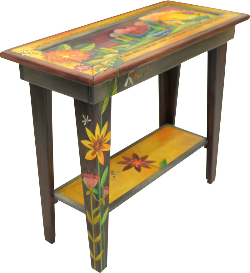 Sticks handmade sofa table with contemporary floral design