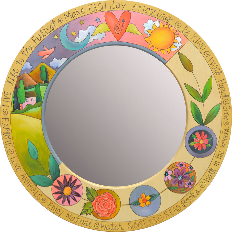 Large Circle Mirror –  Beautiful mirror with vibrant landscape or floral motifs