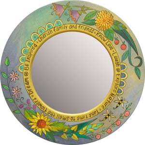 Small Circle Mirror –  Beautiful contemporary floral motif mirror