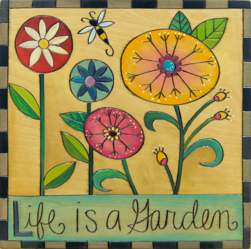 "10""x10"" Plaque –  ""Life is a Garden"" spring floral design"