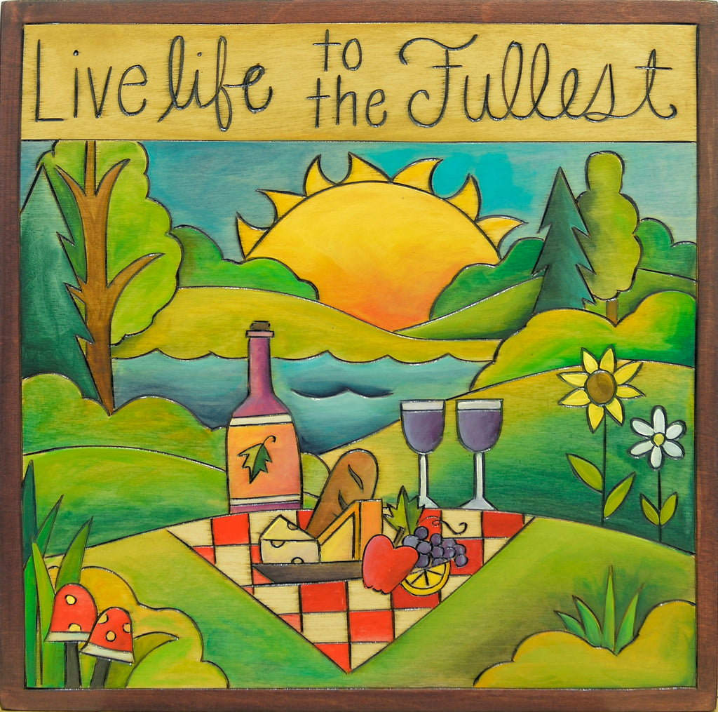 "10""x10"" Plaque –  ""Live life to the fullest"" picnic motif"
