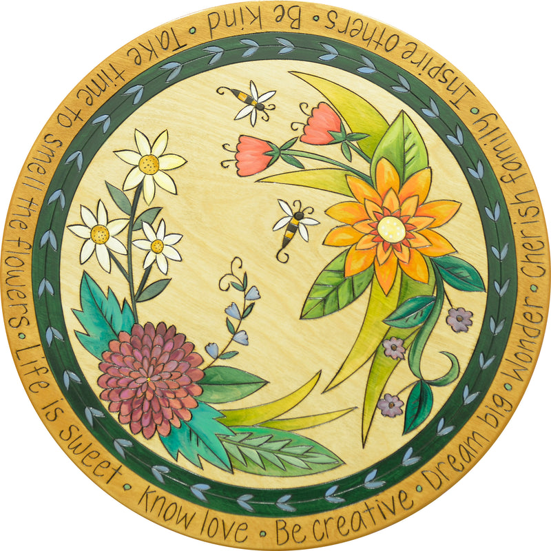 "Sticks Handmade 20"" lazy susan with floral design and bees"