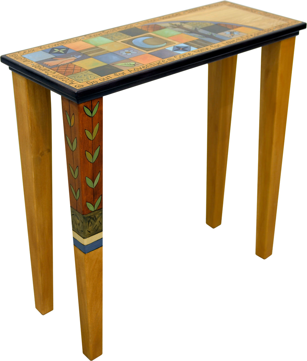 Sticks handmade console table with colorful contemporary grid pattern and vine accent