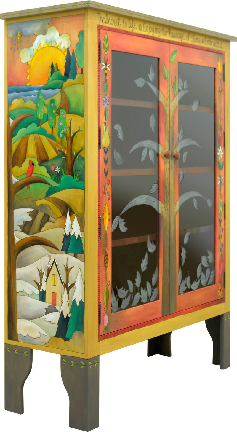 Bookcase with Glass Doors –  Four seasons tree of life bookcase design done in a beautiful elegant palette