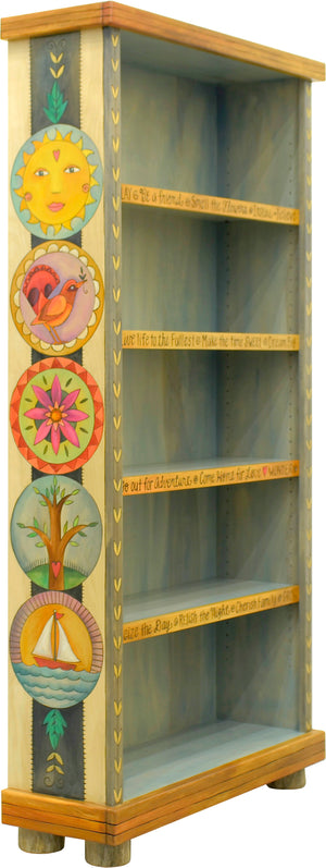 Tall Bookcase –  Light and airy bookcase with large encircled icons motif
