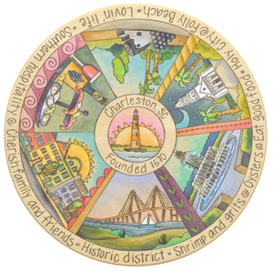 """Explore Charleston"" Lazy Susan – ""Charleston, SC"" pie piece design with various beautiful landmarks front view"