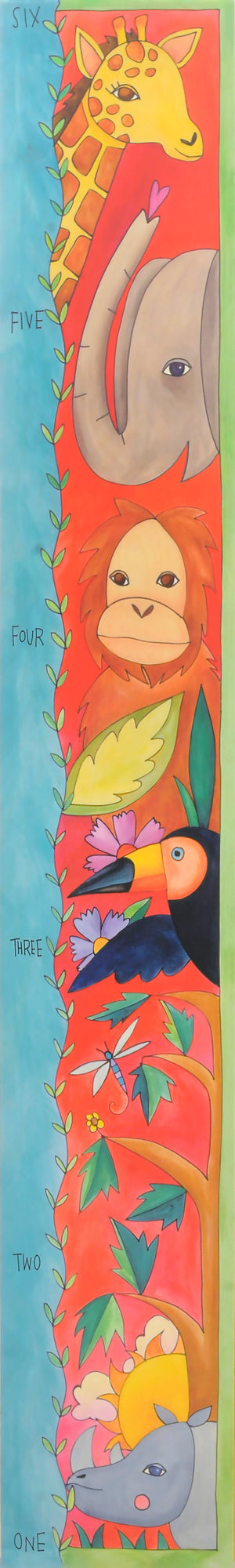 """Animal Friends"" Growth Chart – Safari animal motif fills this growth chart front view"