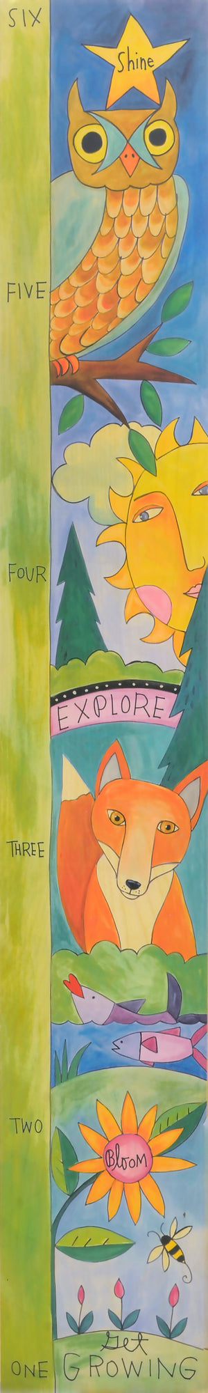 """Adventure Awaits"" Growth Chart – Outdoor adventure motif growth chart front view"