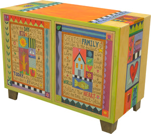 Media Buffet –  Vibrantly colored patchwork design with numerous inspirational words and phrases to brighten your day
