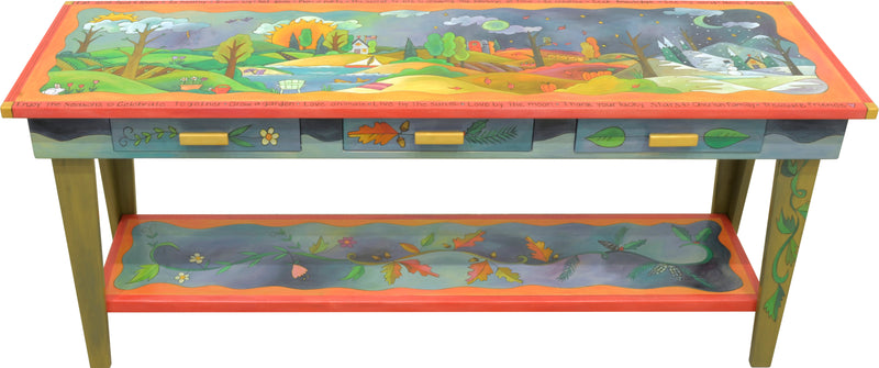Sticks handmade sofa table with colorful four seasons landscape