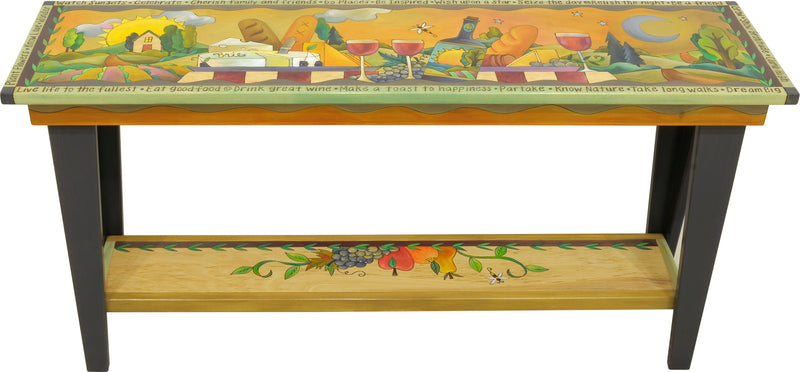 5ft Sofa Table –  Wine and cheese themed sofa table with a landscape motif in the background and fruit accent shelf