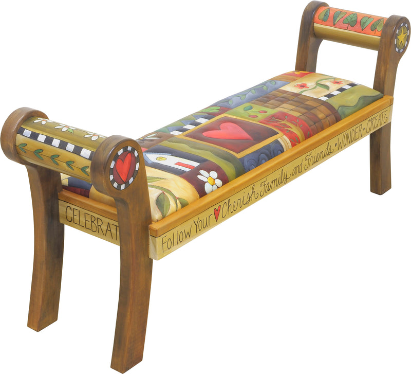 Rolled Arm Bench with Leather Seat –  Beautiful bench with a cozy crazy quilt motif
