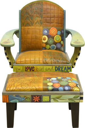 Friedrich's Chair and Matching Ottoman –  Crazy quilt and floating icon motifs mix on this cute and funky chair and ottoman set