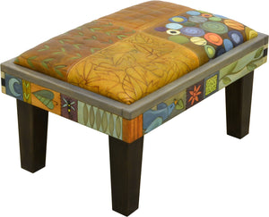 Ottoman –  Elegant hand painted leather ottoman in a crazy quilt motif