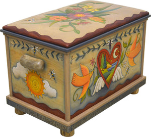 Chest with Leather Top –  Hearts with wings are filled with landscapes and a floral spray motif