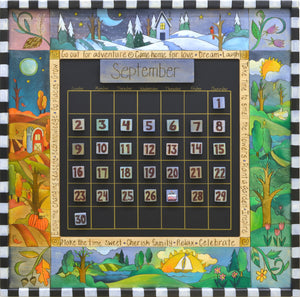 Large Perpetual Calendar –  Elegant and richly painted calendar celebrating the four seasons and corresponding flora