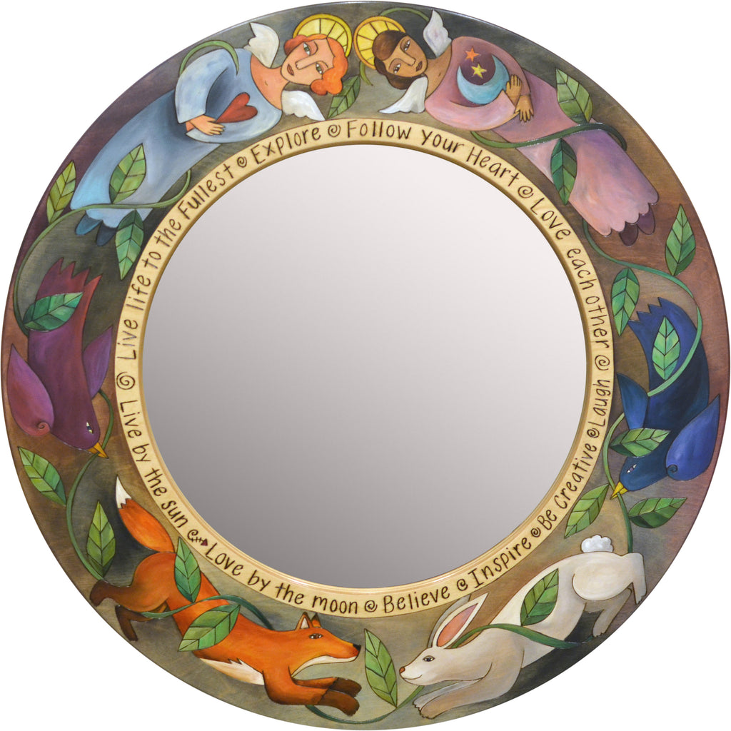 Large Circle Mirror –  Floating angels and playful animals motif