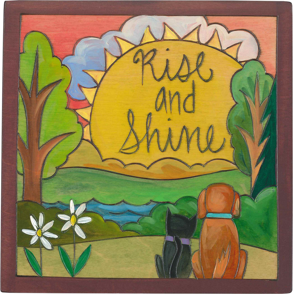 "7""x7"" Plaque –  ""Rise and shine"" landscape and happy pets design"