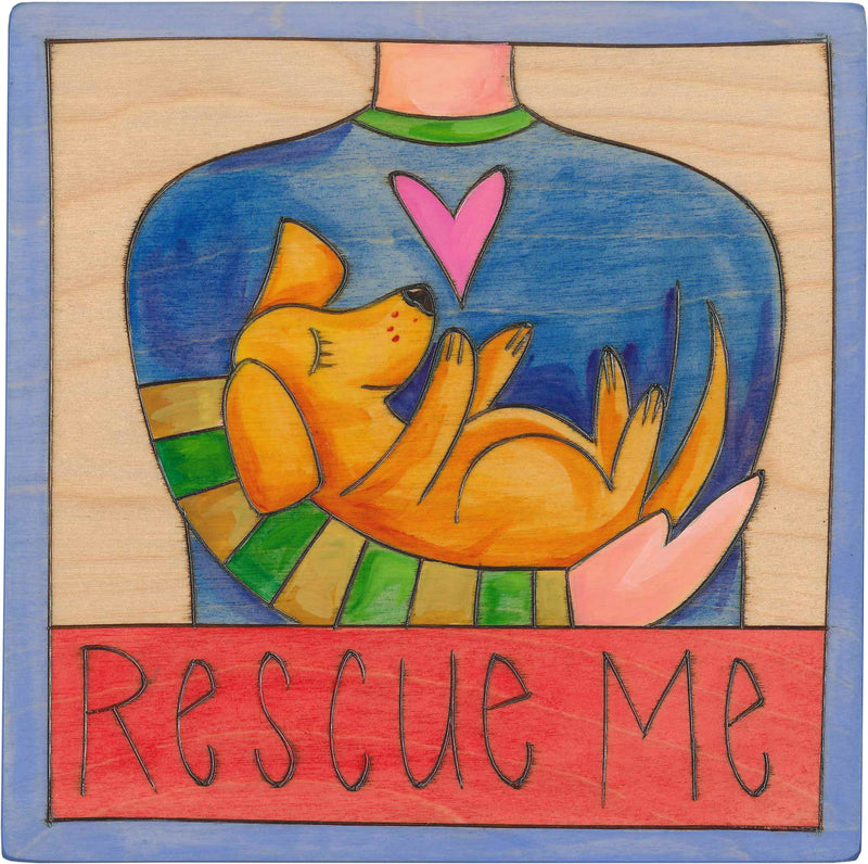 "7""x7"" Plaque –  ""Rescue Me"" with a cute adoptable pup motif"
