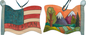 "Flag Ornament –  Mountains majesty landscape and ""proud to be an American"" ornament motif"