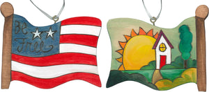 Flag Ornament –  Home sweet home landscape and flag design
