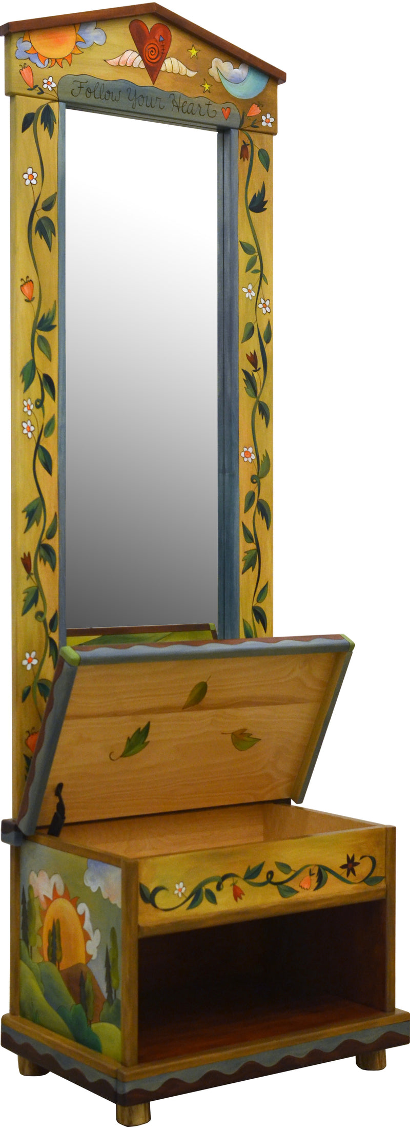 Hall Tree –  Beautiful folk art hall tree with mirror and storage bench featuring landscape paintings, a heart with wings at the top, and a sun and moon motif