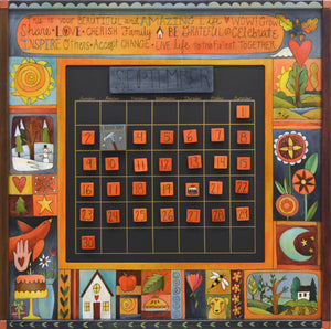 Seasonal crazy quilt calendar motif with phrases to inspire you along the top panel