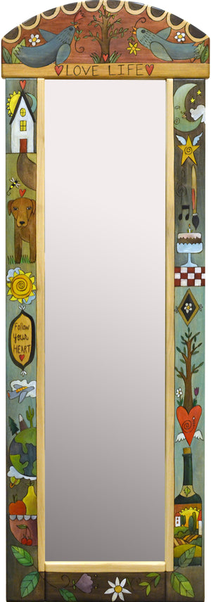 "Wardrobe Mirror –  ""Love life"" mirror with icon design floating down the sides"