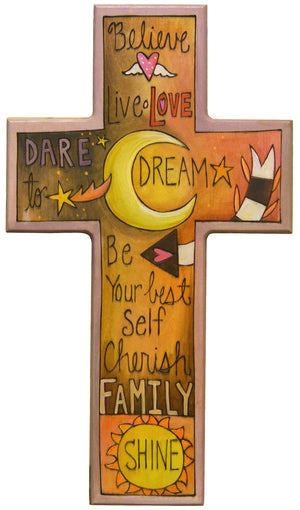 Cross Plaque –  Warm and inspirational words and phrases cross motif
