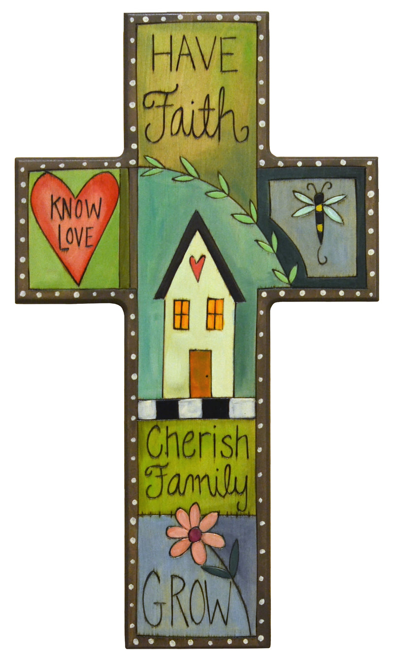 "Cross Plaque –  Beautiful crazy quilt ""have faith"" and ""grow"" plaque motif"