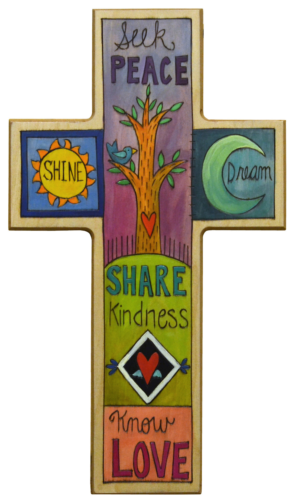 "Cross Plaque –  ""Seek peace"" and other positive affirmations fill this cross design"