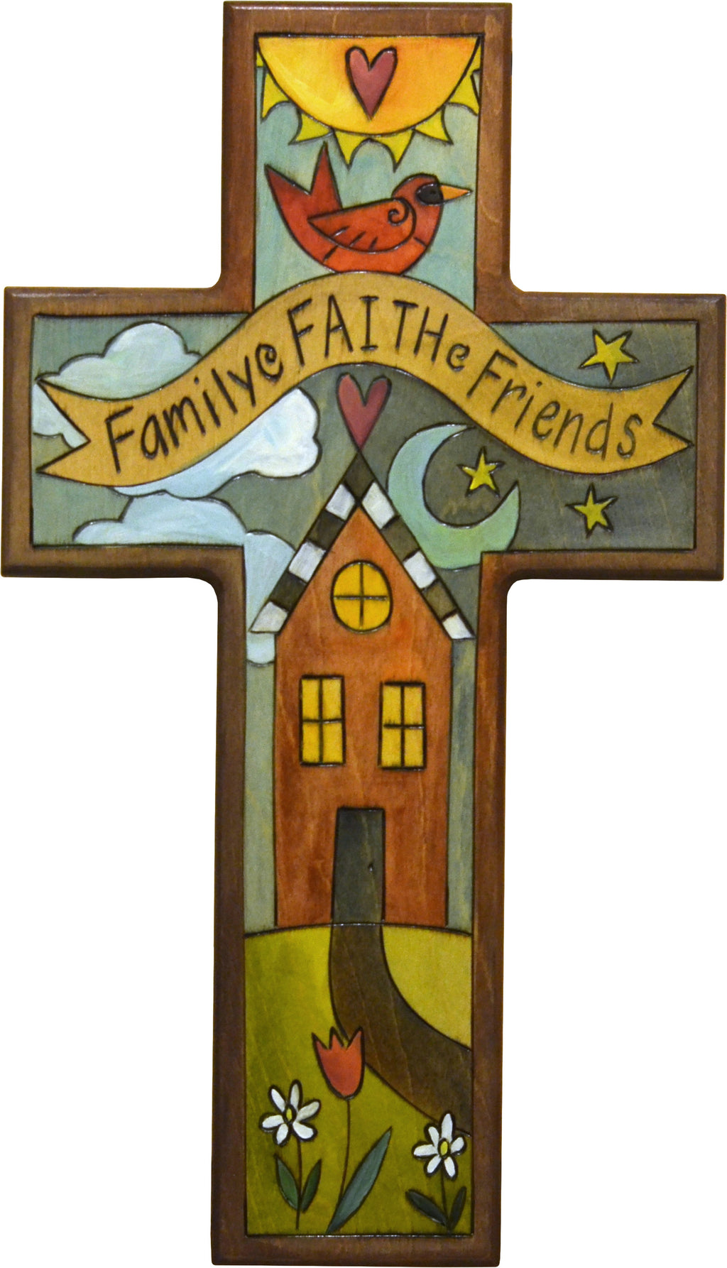 "Cross Plaque –  Charming ""family, faith, and friends"" home motif"