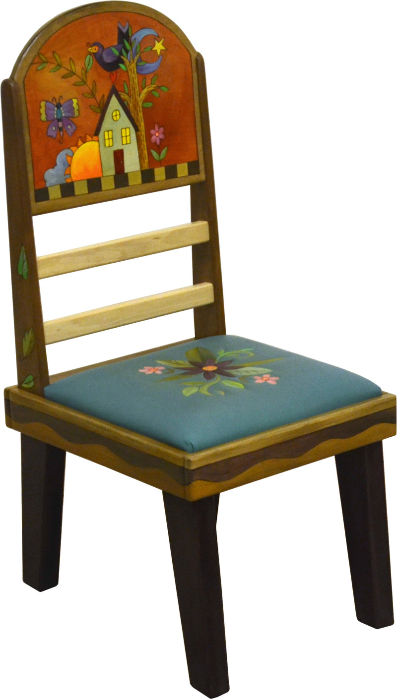 Sticks Side Chair with Leather Seat –  Gorgeous elegant chair with floral spray and a floating icon design on seat back