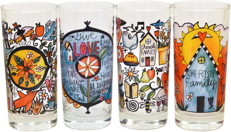 Set of four mixed Sincerely, Sticks drinking glasses