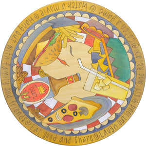 "Sticks Handmade 20""D lazy susan with American summer food theme including burger, pizza, beer and fries"