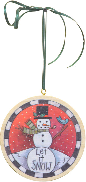"""Snowfriend"" Ornament – ""Let it Snow"" friendly bird and snowman motif front view"