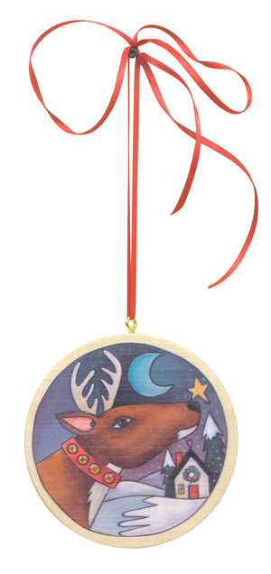 Circle Christmas Ornament Set – A set of all three printed circle holiday ornaments, single reindeer view