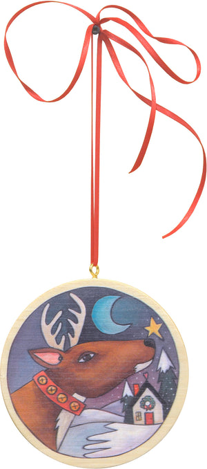 """Rudolph"" Ornament – Santa's reindeer making a Christmas stop motif front view"