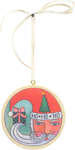 """Kris Kringle"" Ornament – ""Ho ho ho"" Santa brings a gift on Christmas front view"