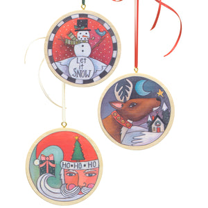 Circle Holiday Ornament Set – A set of all three printed circle holiday ornaments main view