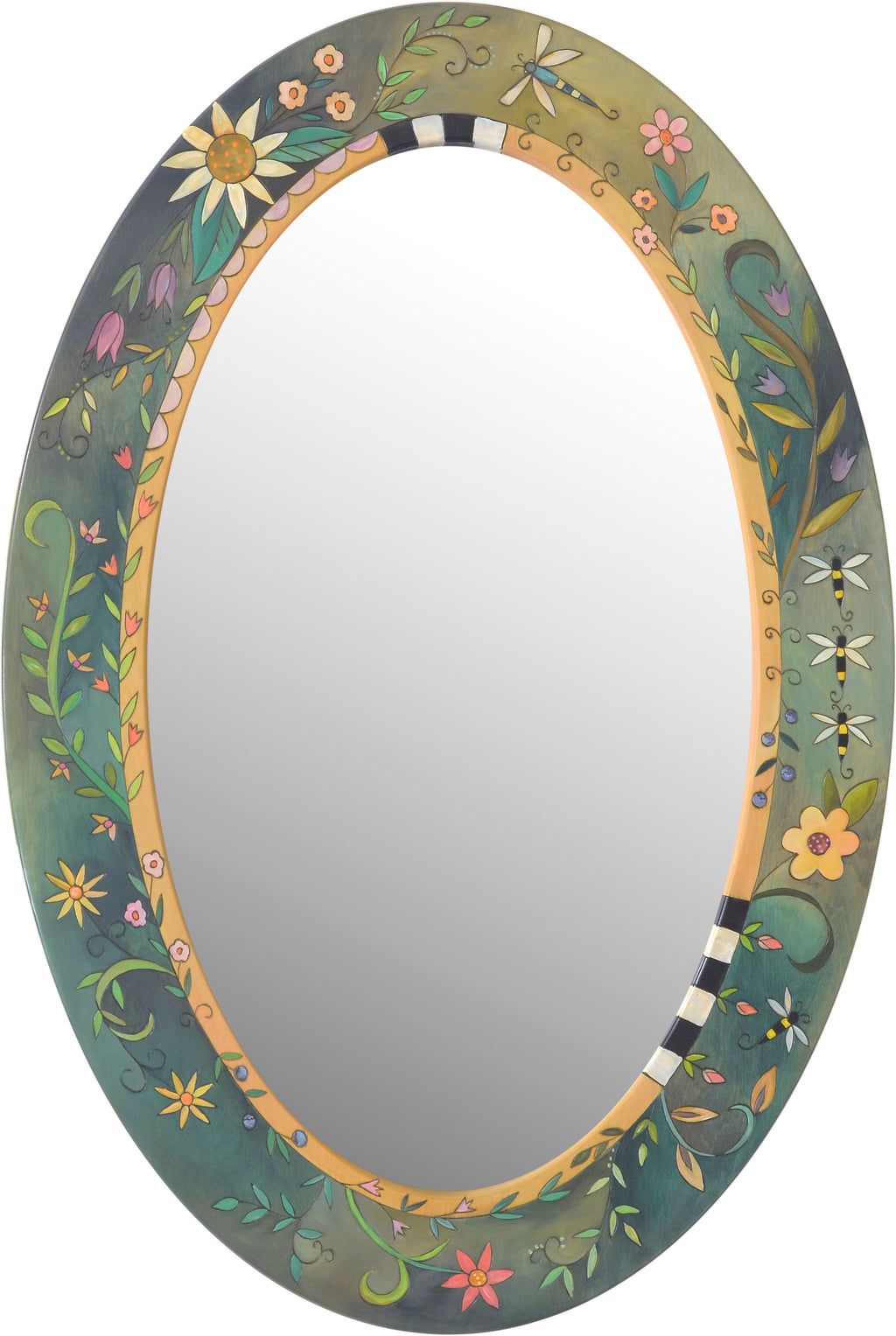 Oval Mirror –  Beautiful floral motif with bees flying about
