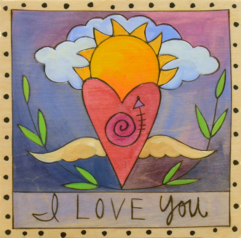 "7""x7"" Plaque –  Sweet ""I love you"" plaque with heart with wings and polka-dot border"