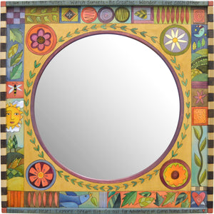 Square Mirror –  Beautiful contemporary and abstract crazy quilt motif