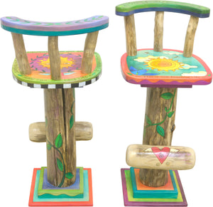 Whimsical and vibrant celestial sunny sky stool motifs, front and back view of 2 of 4 stools